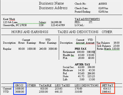 Example Pay Stub