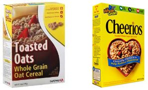 Toasted Oats (left) and Cheerios (right)