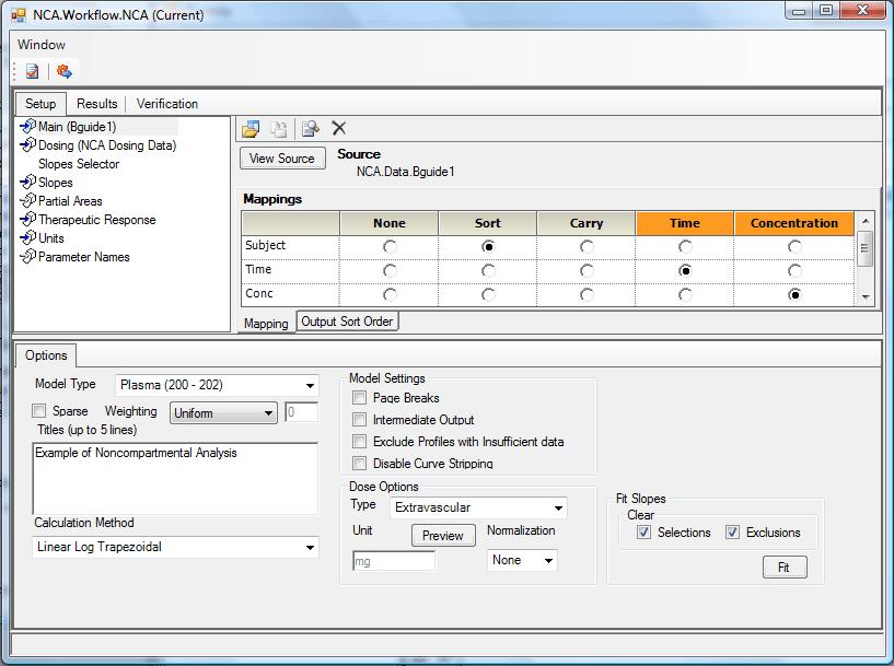 NCA Workflow Setup