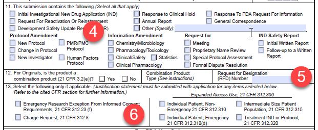 Form FDA 1571 boxes 11_13