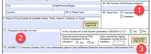 Form FDA 1571 items 6 and 7